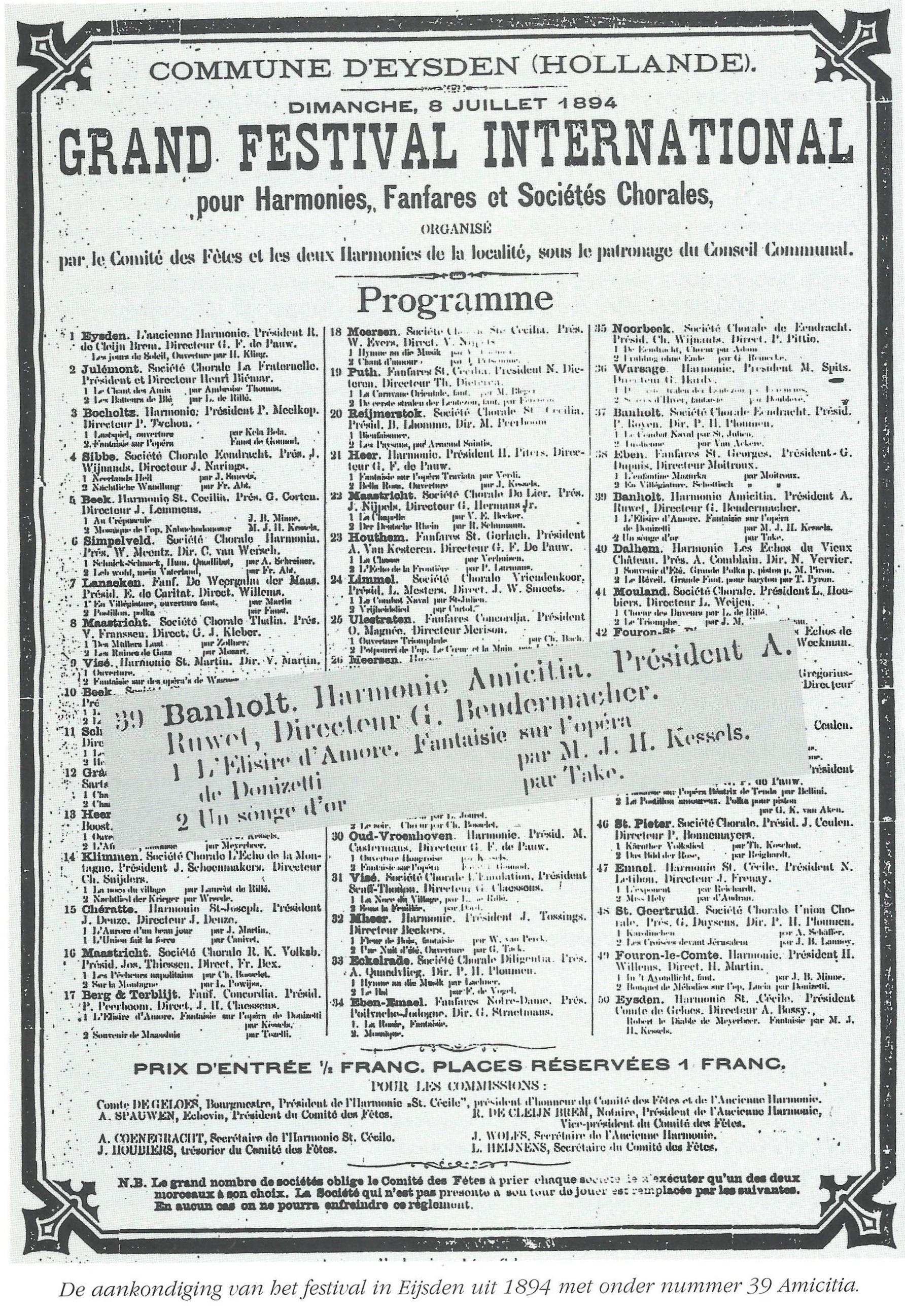 Festival in Eijsden 8 juli 1894